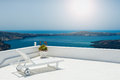Sunbed on the terrace white architecture santorini island greece beautiful view sea Royalty Free Stock Images