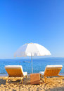 Sunbeds on beach greece in the afternoon skiathos Royalty Free Stock Photo