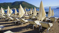 Sunbeds beach white in icmeler marmaris turkey aegean sea Royalty Free Stock Images
