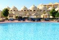 Sunbeds near swimming pool luxury hotel sharm el sheikh egypt Stock Images