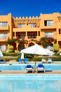 Sunbeds near swimming pool at luxury hotel sharm el sheikh egypt Royalty Free Stock Photography