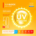 Sunblock suncare strong protection spf solution design gold oil drop uv gradation infographic Royalty Free Stock Photography