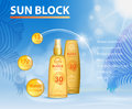 Sunblock UV protection ads template, sun care protection cosmetic products design face and body cream and oil on palm
