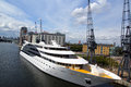 The sunborn huge and impresive luxury floating hotel ship on marina outside london excel centre picture is good to Stock Photos