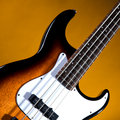 Sunburst Bass Guitar Isolated On Gold Royalty Free Stock Images