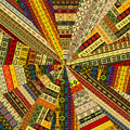 Sunburst made of patchwork fabric with ethnic motifs Stock Photo