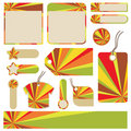 Sunburst tags and tabs Royalty Free Stock Images