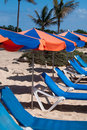 Sunchairs And Umbrellas On The Beach Royalty Free Stock Images