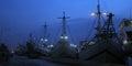 Sunda kelapa harbour the view from at dawn Royalty Free Stock Image