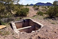 Sundad septic tank the remains of an old in the ghost town of arizona began in the s as a tb sanitarium but when a viable Royalty Free Stock Photo