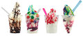 Sundae ice cream in brown red and multi bubble gum and a screwball Royalty Free Stock Images