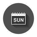 Sunday calendar page pictogram icon.