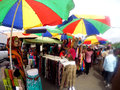 Sunday market at a park in the city of solo central java indonesia Stock Images