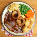 Sunday roast beef dinner traditional british Stock Photography