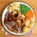 Sunday roast beef dinner traditional british Stock Photography