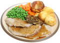 Sunday Roast Pork Dinner Royalty Free Stock Photography