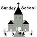 Sunday school children go to christian Stock Image