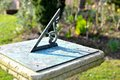 Sundial old in the garden Stock Images