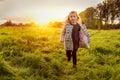 Sundown child run Royalty Free Stock Photo