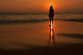 This is a sundown on the ocean coast womans silhouette is situated against the seascape background Stock Photos