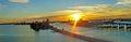 Sundown at port of miami florida Stock Photography