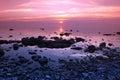 Sundown at Rock coast, Lake Baikal, Russia