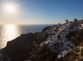 Sundown of Santorini island Royalty Free Stock Image