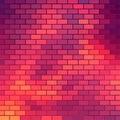 Sundown themed background with brick grid