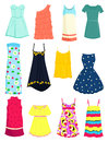 Sundresses set of summer dresses and Royalty Free Stock Photos