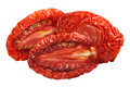 Sundried tomato halves, paths Royalty Free Stock Photo