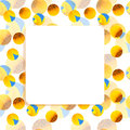 Sunflower, bee frame square banner Royalty Free Stock Photo