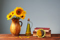Sunflower In A Ceramic Vase, O...