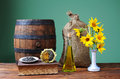 Sunflower In A Ceramic Vase An...