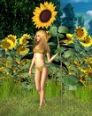 Sunflower Fairy with Summer Background Royalty Free Stock Photo