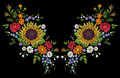 Sunflower field wild floral embroidery arrangement neckline decoration. Fashion textile floral clothing print.Colourful