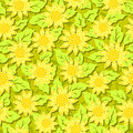 Sunflower flower seamless background vector yellow pattern Royalty Free Stock Photos
