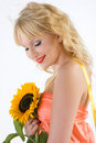 Sunflower girl Stock Images