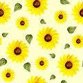 Sunflower and green leaf pattern