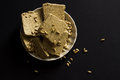 Sunflower halva with seeds on plate Royalty Free Stock Photo
