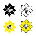 Sunflower, icon set, vector drawing.