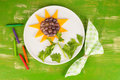 Sunflower kid dessert in the shape of a Royalty Free Stock Photos