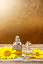 Sunflower oil and olive oil with space for your text Stock Photography