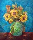 Sunflower painting - impressionist style like Vincent Van Gogh, original work Royalty Free Stock Photo