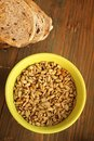 Sunflower seeds and bread Stock Photo