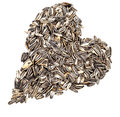 Sunflower seeds a heart made by lot of Royalty Free Stock Images