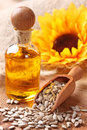 Sunflower seeds and oil Royalty Free Stock Photos