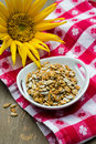 Sunflower seeds a snack bowl full of healthy Stock Photo