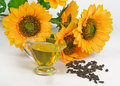 Sunflower seeds and vegetable oil on white background Stock Photo