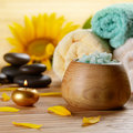 Sunflower spa set wooden table Stock Images