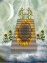 Sunflower stairway Stock Photography